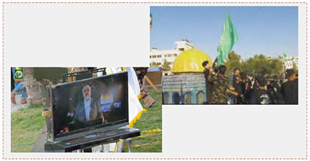 Graduation ceremony for the first session of Hamas summer camps. Left: Khaled Mashaal's recorded speech. Right: Campers simulate taking control of the Temple Mount (Facebook page of the Hamas summer camps, July 21, 2016).