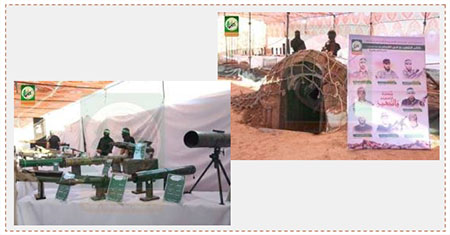 "Display in an Izz al-Din Qassam Brigades post. Left: Rocket launchers used by Hamas' military-terrorist wing. Right: Model of a tunnel and a poster with the names of Izz al-Din Qassam Brigades terrorist operatives killed during activities the tunnels (Facebook page of the ""Pioneers of Liberation,"" July 21, 2016)."