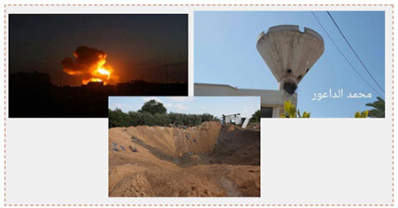 Palestinian media pictures of the IAF attack. Left: Night attack. Right: The water tower in Khan Yunis, which apparently doubled as an observation point (Facebook page of Quds.net, August 21, 2016). Bottom: Attack in the Beit Hanoun region (Facebook page of Shihab, August 22, 2016).