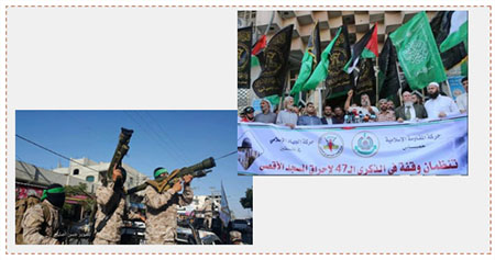Left: The Hamas rally in Rafah. Hamas terrorist operatives display rocket launchers (Facebook page of Quds.net, August 21, 2016). Right: The joint Hamas-PIJ rally in Gaza City (Paltoday, August 21, 2016).