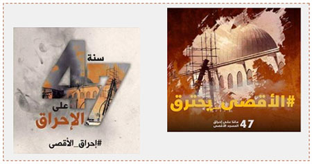 "Notices marking the 47th anniversary of the arson at Al-Aqsa mosque. Left: ""47 years since the arson. The burning of Al-Aqsa mosque"" (Facebook page of Paldf, August 21, 2016). Right: ""Al-Aqsa burns. 47 years since the arson at Al-Aqsa mosque"" (Facebook page of QudsN, August 21, 2016)."