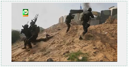 Preparing for the next round of fighting against Israel. Terrorist operatives of the Izz al-Din Qassam Brigades, Hamas' military wing, simulate dragging an IDF soldier from a post after it had been conquered (Filastin al-A'an, December 27, 2014).