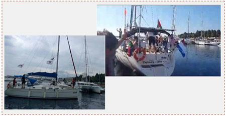 Left: The Amal 2, purchased as a replacement for the Amal (which was grounded by a technical failure), anchored in the port of Messina (Website of the Women's Flotilla to Gaza, sept 25, 2016). Right: TheZaytouna leaves Messina en route to the Gaza Strip (Facebook page of the Freedom Fleet Coalition, Sept 27, 2016).