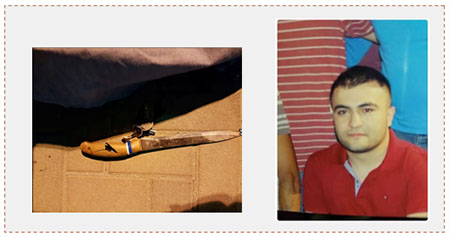 Left: The knife used to carry out the stabbing attack at the Qalandia crossing (Panet, September 30, 2016). Right: Nasib Abu Mayzar, who carried out the stabbing attack  (Twitter account of Paldaf, October 1, 2016).