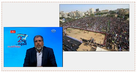 Left: Ramadan Shallah, secretary general of the PIJ, in a taped speech (Ma'an, Dunia al-Watan and Paltoday, October 21, 2016). Right: The PIJ rally marking the 29th anniversary of its founding (Paltoday, October 21, 2016).