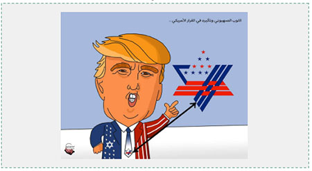 "Trump on the Gazan Shehab Facebook page. The Arabic reads, ""The Zionist lobby and its influence on American decision-making"" (Facebook page of Shehab, November 9, 2016)."
