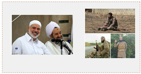 Left: Sheikh Ali al-Ghafari, Bilal al-Ghafari's father (right) and Ismail Haniyeh. Right: Bilal Ali al-Ghafari, a fighter in the ranks of ISIS in Iraq (Paldf forum, November 11, 2016).