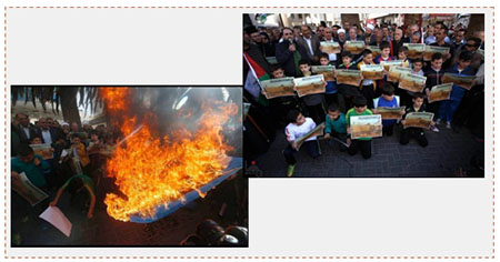"Left: Palestinians burn an Israeli flag during a demonstration in Nablus. Right: Children in Nablus protest the ""muezzin law,"" joined by Akram Rajoub, Nablus governor (Wafa and Facebook page of alresala.net, November 20, 2016)"