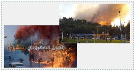 "Left: Hamas Tweet about the fires. The Arabic reads, ""The Zionist entity is burning"" (Twitter account of Palinfo, November 25, 2016). Right: A fire in the neighborhood of Romema, the largest and most dangerous of all the fires in Haifa (Spokesman for the Israeli Coast Province police, November 25, 2016)."