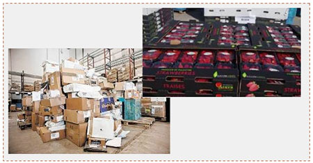 Left: Delivery of packages to the Gaza Strip through the Erez crossing renewed (Facebook page of the Israeli coordinator for government activities in the territories, December 4, 2016). Right: A shipment of strawberries from the northern Gaza Strip consigned to European markets (Facebook page in Arabic of the Israeli coordinator for government activities in the territories, December 1, 2016)