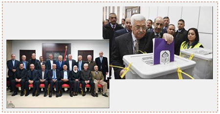 Left: Mahmoud Abbas in his office in Ramallah with members of Fatah's newly-elected Central Committee (Wafa, December 5, 2016). Right: Mahmoud Abbas casts his vote for Fatah's Central Committee and Revolutionary Council (Wafa, December 3, 2016).