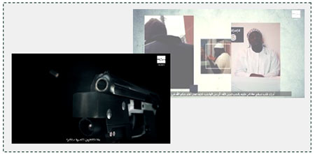 "Left: Appeal to British Muslims in an ISIS video: ""Why do you delay support for your religion?"" as a bullet is fired in slow motion. Right: Amedy Coulibaly, the terrorist who carried out the attack at the kosher supermarket in Paris, in the same video, represented as a role model (Haq, November 27, 2016)."