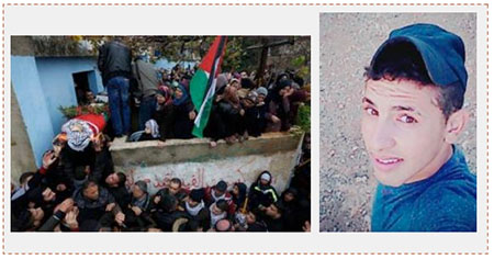 Left: Funeral held for Ahmed Rimawi in the village of Bayt Rima. His body is draped in the Palestinian flag. Right: Ahmed Rimawi (Twitter account of Paldf, December 17 and 18, 2016).
