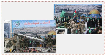 Left: Hamas' J80 rocket on display at the main rally held in Gaza City marking the 29th anniversary of the organization's founding. Right: Senior Hamas figures at the rally (Twitter account of Palinfo, December 14, 2016).