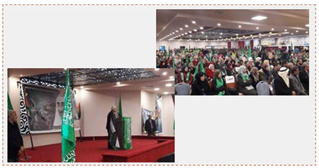 Left: Abbas Zaki, senior Fatah figure and member of its Central Committee, delivers a speech at the Hamas rally in al-Bireh marking the 29th anniversary of the movement's founding. Right: Hamas rally in al-Bireh (Twitter account of Palinfo, December 17, 2016).