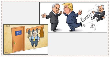 Left: Cartoon in Hamas Twitter account shows Mahmoud Abbas hung up outside Trump's door (Twitter account of Palinfo, February 11, 2017). Right: Cartoon in Hamas' al-Risalah shows the future of Mahmoud Abbas and the PA under the new American administration (al-Risalah, February 13, 2017).