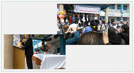 Left: Dr. Suhail al-Hindi, principal of an UNRWA school, speaking at a ceremony honoring students who excelled in their studies. Right: Dr. Suhail al-Hindi (center), Bo Schack to the right (Facebook page of Yasser Abu Zakariya, February 10, 2017).