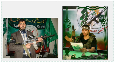 Left: A shaheed from Hamas' military-terrorist wing, killed in February 2008. The picture was posted by the Facebook page of the al-Salam mosque on the anniversary of his death (Facebook page of the al-Salam mosque in Gaza, February 28, 2017). Right: A Hamas operative reads a memorial notice for a Hamas operative killed in the Gaza Strip in Operation Cast Lead, who used to pray at the al-Salam mosque (Facebook page of the al-Salam mosque in Gaza, January 15, 2017).