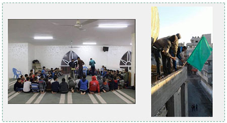 "Left: Children in a religious instruction class in the al-Salam mosque in the Sabra neighborhood of Gaza City (Facebook page of the al-Salam mosque in Gaza, December 8, 2016). Right: Hanging a Hamas flag on the al-Salam mosque as an activity for the 29th anniversary of the founding of Hamas. The Arabic on the Facebook page reads, ""[Worshippers who come to pray] at the al-Salam mosque decorate the area around the mosque to mark the 29th anniversary of the founding of Hamas"" (Facebook page of the al-Salam mosque in Gaza, November 27, 2016). In other pictures, young men from the mosque are seen standing in the main streets of Gaza City holding Hamas flags (Facebook page of the al-Salam mosque in Gaza, December 8 and 10, 2016)."