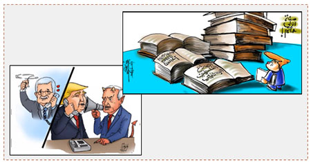 "Left: Cartoon appearing in official Hamas organ mocking Mahmoud Abbas' phone conversation with Donald Trump, who takes orders from Israeli Prime Minister Benyamin Netanyahu (alresala.net, March 13, 2017). Right: Cartoon by Khalil Abu Urfeh, from east Jerusalem, about what the new American president still has to learn about the Palestinian-Israeli conflict. The Arabic reads, ""First year in office"" (Facebook page of Khalil Abu Urfeh, March 11, 2017)."