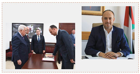 Left: Swearing-in of Dr. Husam Zomlot as PLO representative in the United States (Facebook page of Dr. Husam Zomlot, March 7, 2017). Right: Dr. Husam Zomlot (Facebook page of Dr. Husam Zomlot, September 29, 2016).