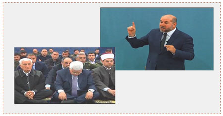 Left: Mahmoud Abbas listens to Mahmoud al-Habash' sermon. Right: Mahmoud al-Habash delivers the Friday sermon at the Muqata'a in Ramallah (YouTube, March 11, 2017).