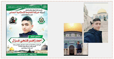 Left: Death notice issued by Hamas for Ahmed Zaher Fathi Ghazal (Twitter account of Palinfo, April 2, 2017). Right: Pictures from his visit to the Temple Mount, taken before the stabbing attack (Twitter account of Palinfo and Facebook page of Bethlehem al-Hadath, April 1, 2017).