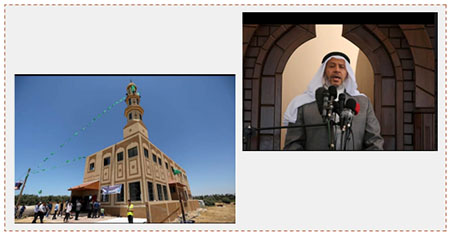 Left: The Mazen Fuqahaa mosque in al-Zawayda, in the central Gaza Strip. Right: Khalil al-Haya, a member of Hamas' political bureau, delivers the Friday sermon at the inauguration of the mosque (Facebook page of Shehab, May 27, 2017).