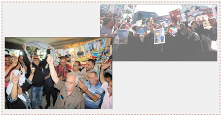Celebrating the end of the hunger strike. Left: Relatives of prisoners in a protest tent in Jenin (Palinfo Twitter account, May 27, 2017). Right: Palestinians take to the streets in Ramallah (Wafa, May 27, 2017).