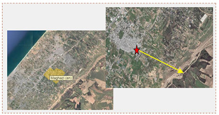 Left: The al-Maghazi refugee camp in the central Gaza Strip, where a Hamas tunnel was exposed. Right: The location of the two UNRWA schools (red star). The yellow arrow leads to the border security fence between Israel and the Gaza Strip (Wikimapia, June 12, 2017).