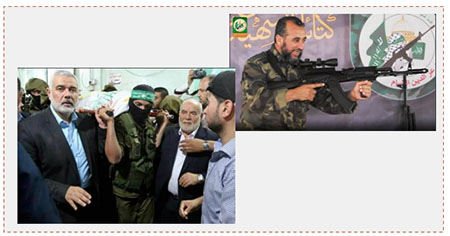 Left: Ismail Haniyeh, head of Hamas' political bureau, and Ahmed Bahar, deputy head of the Palestinian Legislative Council, at Abu Naja's funeral in Rafah (Facebook page of ahdath.ps, June 8, 2017) Right: Ibrahim Abu al-Naja (Twitter account of Hamas' military-terrorist wing, June 8, 2017).