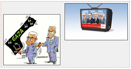 "Left: Hamas cartoon of Benyamin Netanyahu using Mahmoud Abbas to cut off electricity to the Gaza Strip (Facebook page of al-Risalah, June 16, 2017) Right: Hamas cartoon of Mahmoud Abbas, Rami Hamdallah and Israel working together to worsen the humanitarian crisis in the Gaza Strip. The TV newsflash reads, ""The Israeli cabinet meets to reduce electricity to the Gaza Strip"" (alresalah.net, June 15, 2017)."