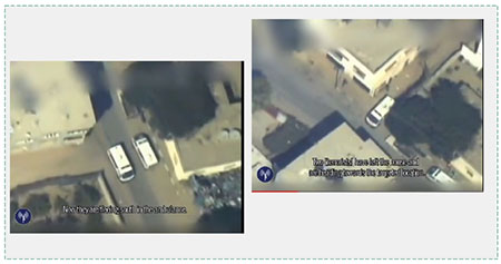 Two scenes from a video issued by the IDF spokesman show terrorist organizations using an ambulances for military purposes during Operation Protective Edge  (IDF Spokesman's Unit, July 22, 2014).