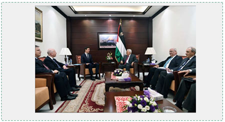 Mahmoud Abbas meets with Jared Kushner, senior advisor to the American president. Clockwise from the left: Donald Blome, American consul general in Jerusalem; Jason Greenblatt, special envoy for international negotiations; Kushner and Abbas; Saeb Erekat, secretary of the PLO's Executive Committee; and Majed Faraj, head of Palestinian general intelligence  (Wafa, June 21, 2017).