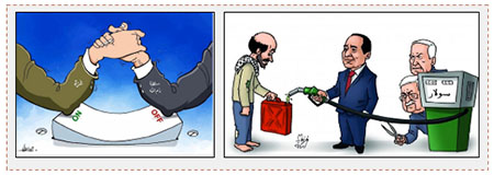 Left: The power struggle between the PA and Hamas caused by the electricity crisis in the Gaza Strip (Palinfo Twitter account, June 23, 2017). Right: Hamas cartoon shows Mahmoud Abbas and Israeli Prime Minister Benyamin Netanyahu's efforts to disrupt the flow of diesel fuel from Egypt to the Gaza Strip (Facebook page of al-Risalah, June 22, 2017).