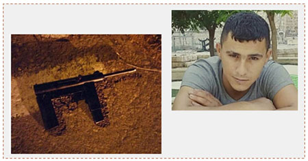 Left: Improvised gun used to shoot at Israeli security forces. Right: Iyad Munir Arafat Ghais, 23, from Hebron, killed during an Israeli security force activity in Hebron (Ma'an, June 28, 2017).