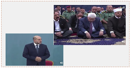 Left: Mahmoud al-Batash delivers a sermon. Right: Mahmoud Abbas at the Friday prayers in the Muqata'a in Ramallah (Facebook page of Fatah, July 14, 2017)