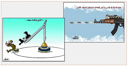"Hamas cartoons about the shooting attack. Left: The Arabic reads, ""[...al-Masjid al-Aqsa,] whose surroundings We have blessed"" Qur'an Sura 17 (al-Isra), Verse 1 (Felesteen, July 15, 2017). Right: ""Act of sacrifice in Jerusalem in response to the settler invasions of al-Aqsa mosque"" (Palinfo Twitter account, July 14, 2017)."