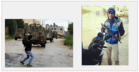 The two Palestinians killed in the riot. Left: Aus Salameh throws stones at IDF forces in the Jenin refugee camp (Facebook page of the Fatah movement, July 13, 2017). Right: Sa'ad Salah (Facebook page of Wafa, July 12, 2017).