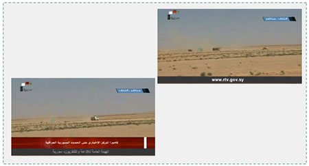 Using the Damascus-Baghdad road. Left: Trucks en route from Iraq to Syria. Right: Three trucks on their way from Syria to Iraq at the improvised border crossing opened on the Syrian-Iraqi border northeast of the al-Waleed crossing (called al-Tanf on the Syrian side) (Syria TV Channel 7, June 12, 2017).