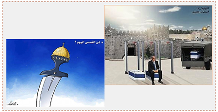 "Hamas notices after the terrorist attack. Left: The Arabic reads, ""Who [owns] Jerusalem today?"" Right: Israeli Prime Minister Benyamin Netanyahu pays the price for his determination to install metal detectors in the Temple Mount compound (Palinfo, July 22, 2017)."