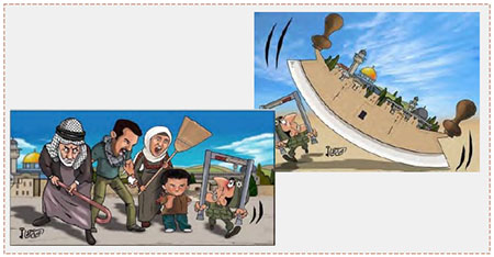Two cartoons by Hamas-affiliated Omaya Joha about the victory over the Israeli security forces (Palinfo Twitter account, July 29, 2017).