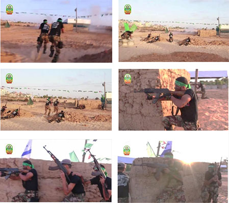 Campers simulate taking control of an IDF post, throw the Israeli flag to the ground and replace it with a Hamas flag.