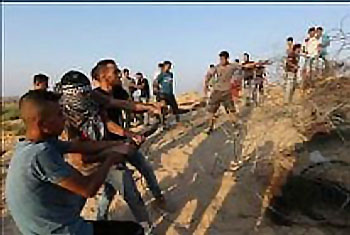Palestinians clash with IDF security forces along the Israel-Gaza Strip border (Paldf Twitter account, August 12, 2017).