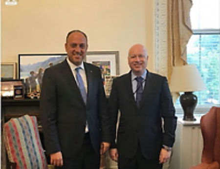 Husam Zomlot, PA representative in the United States, meets in Washington with Jason Greenblatt (Facebook page of Husam Zomlot, August 15, 2017).