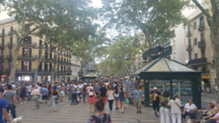 Return to routine daily life on Las Ramblas Boulevard after the vehicular attack (Twitter account of Bostjan Cernensek @bcernensek, August 19, 2017)