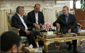 Members of the delegation meet with Ali Larijani (at the right), the speaker of the Majlis.