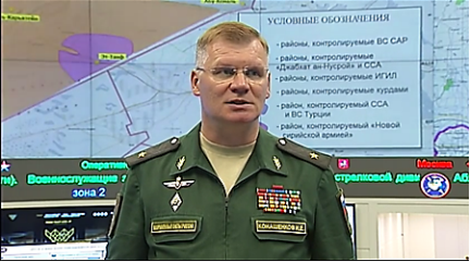 Russian Ministry of Defense Spokesmen Konashenkov at a press conference, with a map of the control areas in Syria in the background (Russian Ministry of Defense website, August 3, 2017).