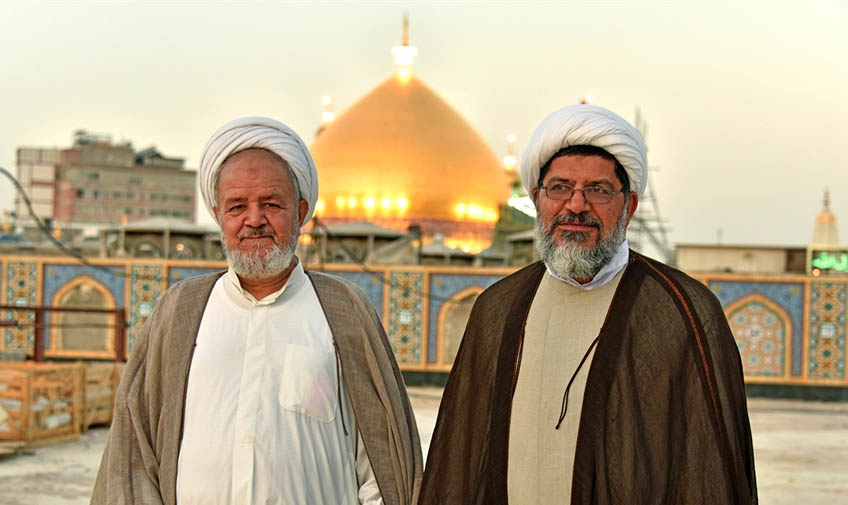 Sa'idi (left) and Shirazi (right) in their visit in Najaf ( Defa Press, August 2 2017).