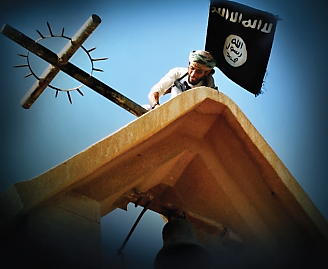 "Representing terrorism as a religious war between Muslims and Christians. The cover of the July 2017 issue of ISIS's English-language magazine, Dabiq. In the picture an Islamic State ""soldier"" tears down a cross atop a church. The cover of the magazine reads, ""Break the Cross"" (Dabiq, issue #15, July 2016)."